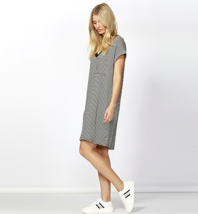 BETTY BASICS - Black & White Striped Arizona Dress
