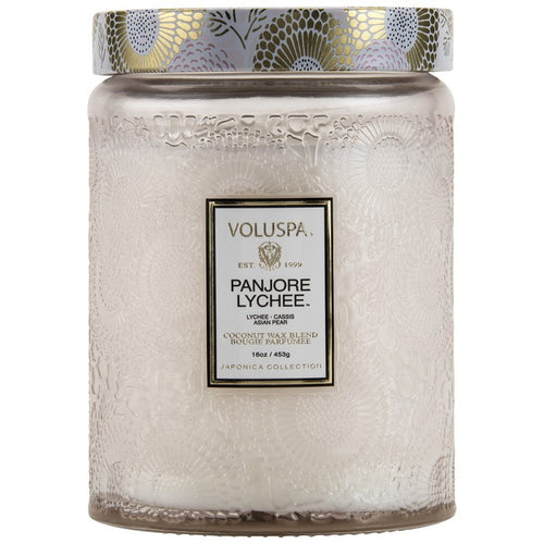 VOLUSPA Panjore Lychee Large Embossed Glass Jar Candle