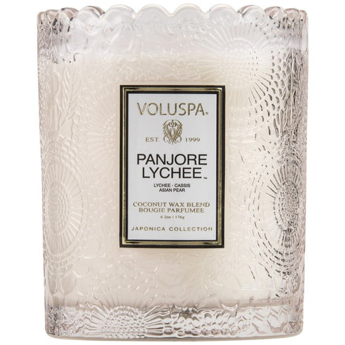 VOLUSPA Embossed Glass Scalloped Jar Candle Panjore Lychee