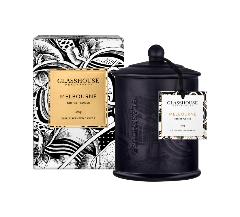 GLASSHOUSE - Melbourne Coffee Flower 350g Candle