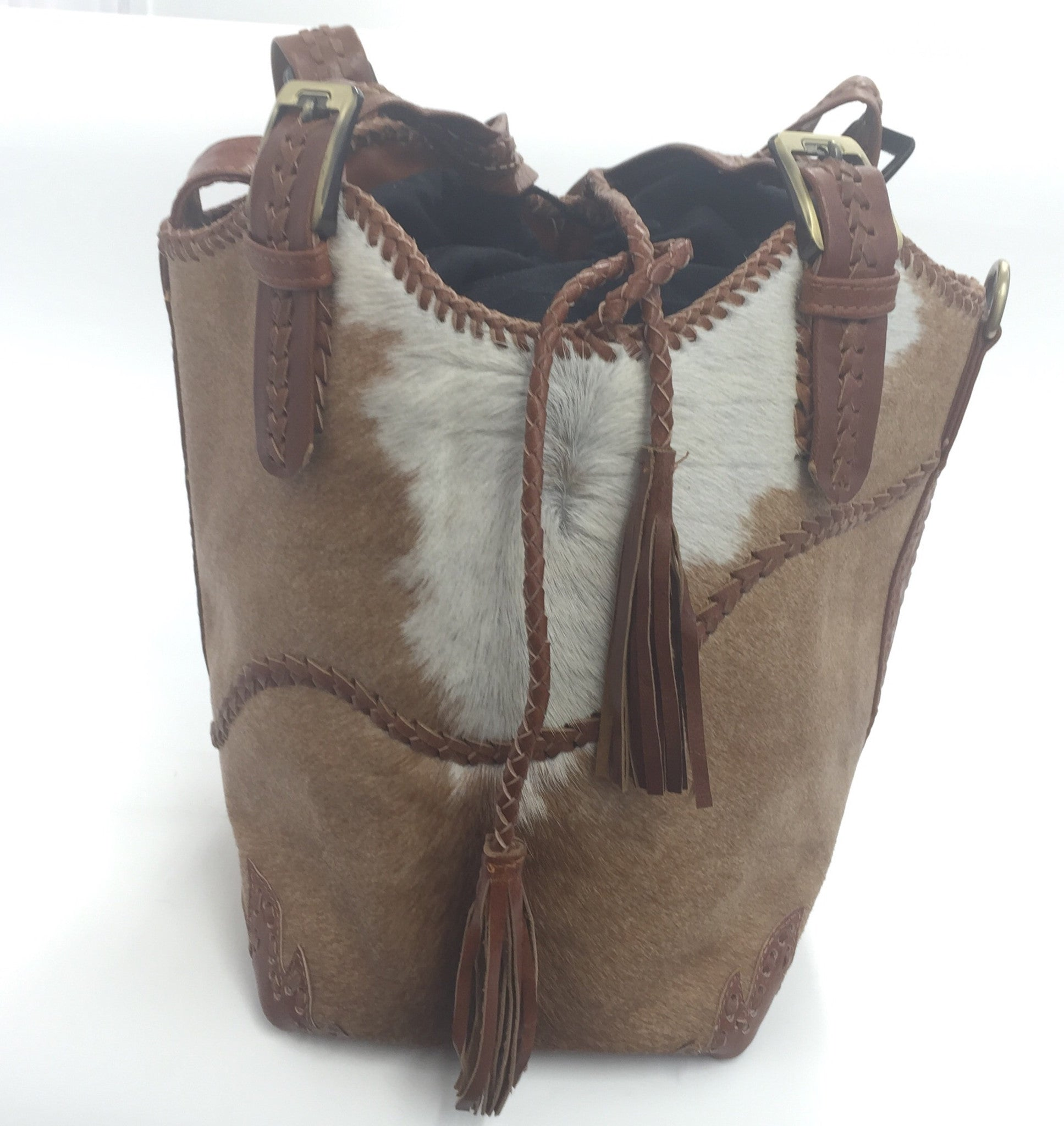 TAN COWHIDE BUCKET BAG
