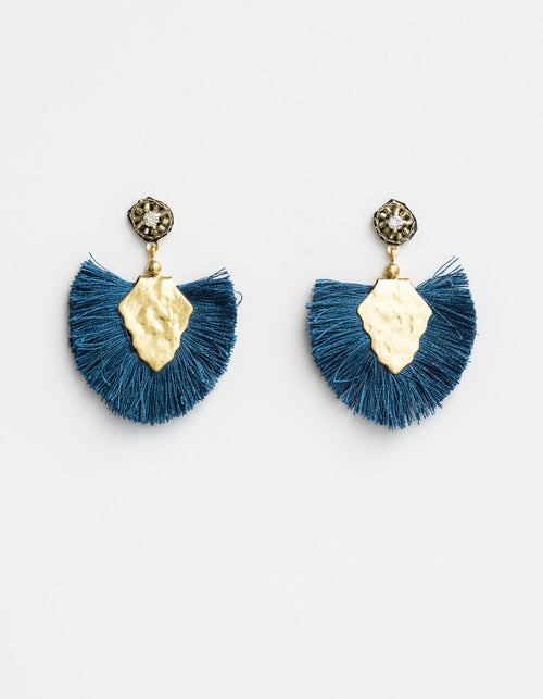 STELLA + GEMMA - Navy Boho earring with brass centre