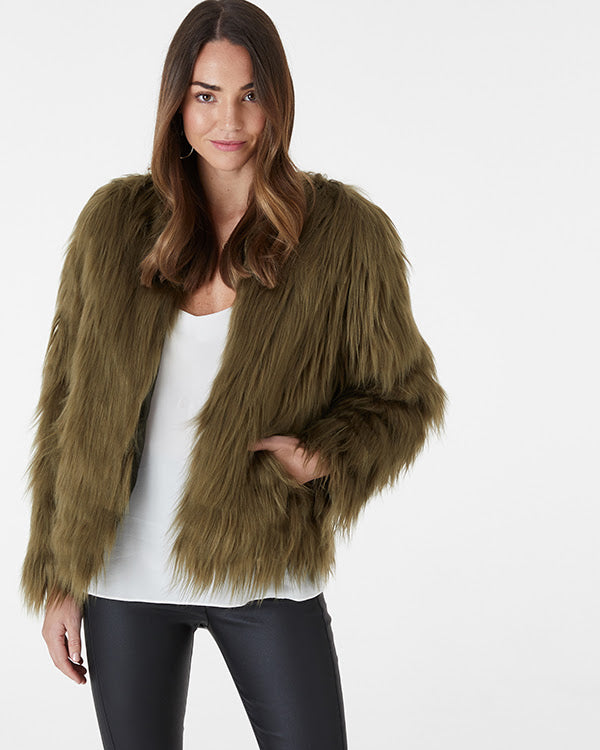 EVERLY COLLECTIVE - Khaki Faux Fur Jacket