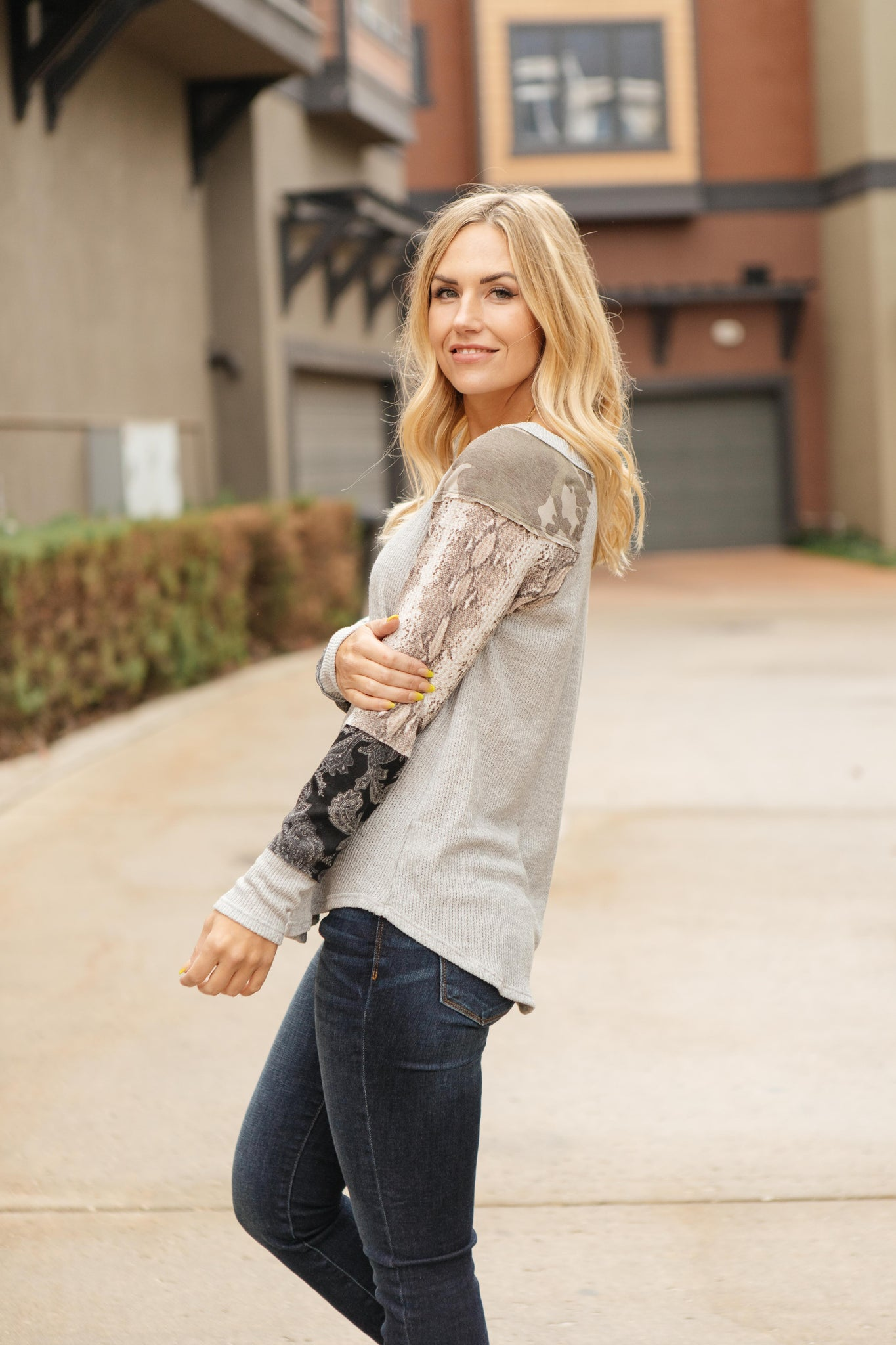 All About The Details Top in Gray