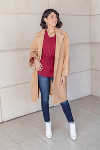 Deconstructed Oversized Trench Coat in Light Tan