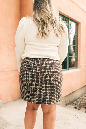 Elly Tweed Skirt in Hazelnut