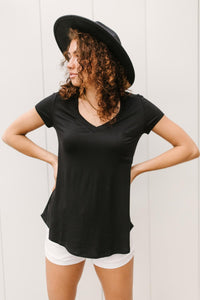 Gotta Love A Chest Pocket Tee in Black