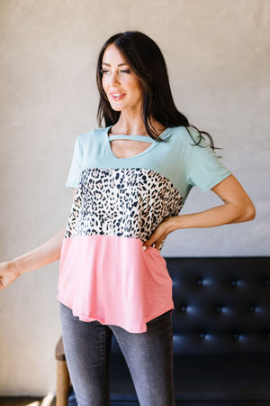 Leopard In The Middle Color Block Top In Mint & Coral