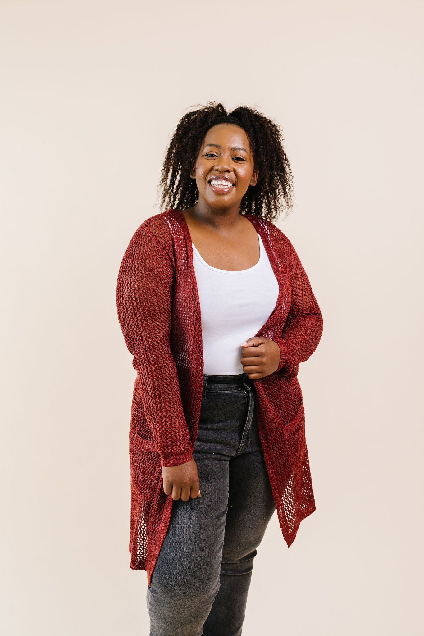 Cast Your Net Cardigan In Deep Rust