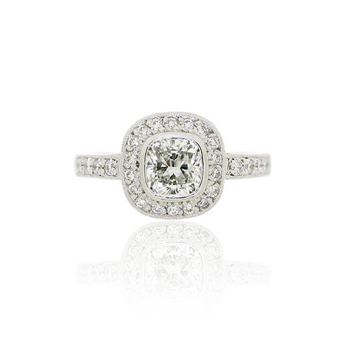 18ct White Gold Cushion Diamond Cluster Ring