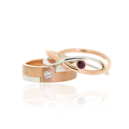 18ct Rose & White Gold Wedding Rings