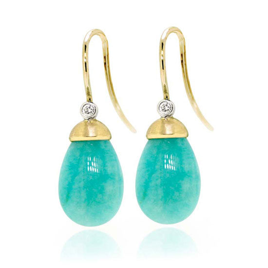 18ct Gold Amazonite & Diamond Earrings