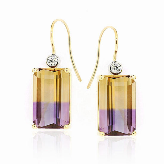 18ct Gold Ametrine & Diamond earrings
