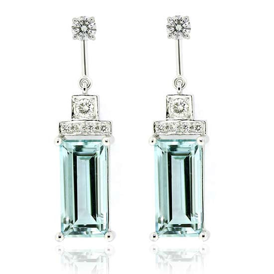 18ct white gold aquamarine & diamond earrings