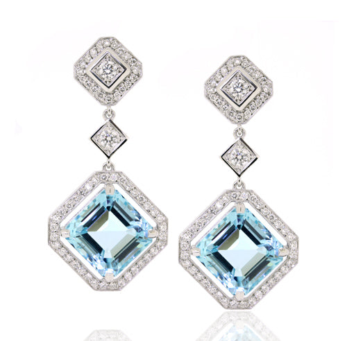 White Gold Diamond & Aquamarine Earrings