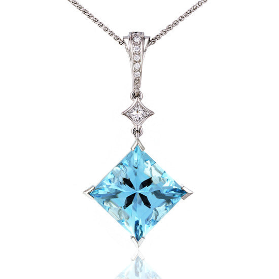 White Gold Aquamarine & Diamond Pendant