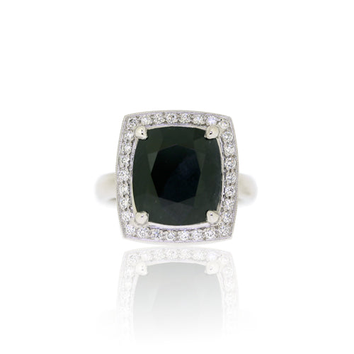 Black Sapphire & White Diamond White Gold Ring