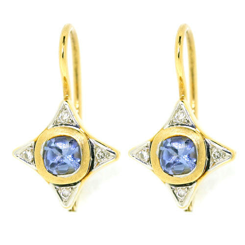 18ct Gold Sapphire & Diamond Earrings