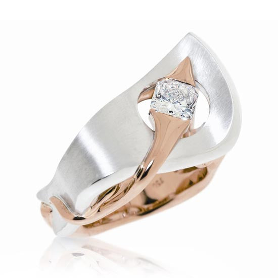 White & Rose Gold Radiant Diamond Ring