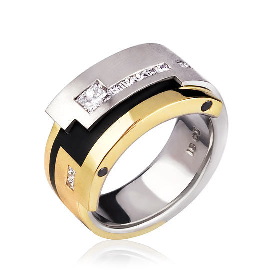 18ct Gold White & Black Diamond Gents Ring