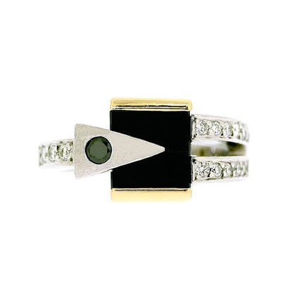 18ct Gold Diamond & Onyx Ring