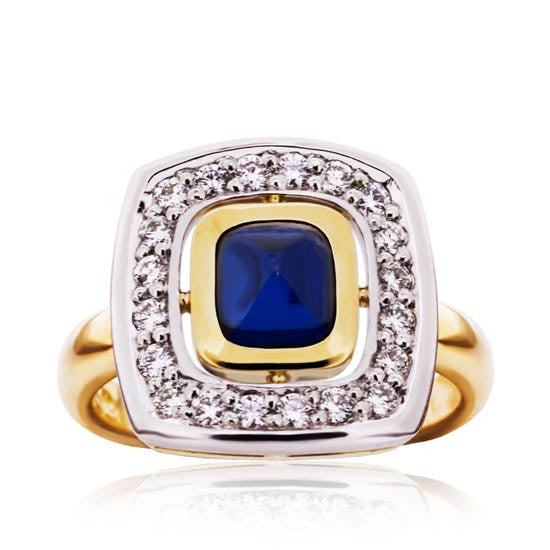 18ct Gold Sapphire & Diamond Cluster Ring