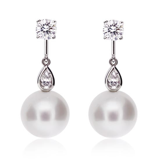 Diamond & Pearl White Gold Earrings