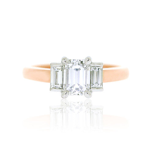 18ct Gold Emerald Cut Diamond Ring