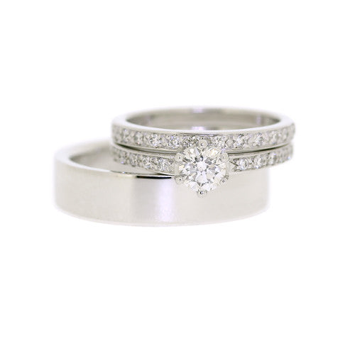 White Gold Ladies & Gents Wedding Ring Suite