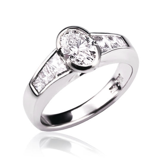 White Gold Oval & Baguette Diamond Ring