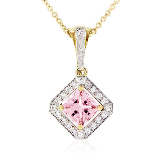 Tourmaline & Diamond 18ct Gold Pendant