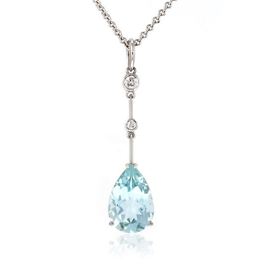 Aquamarine & Diamond White Gold Pendant