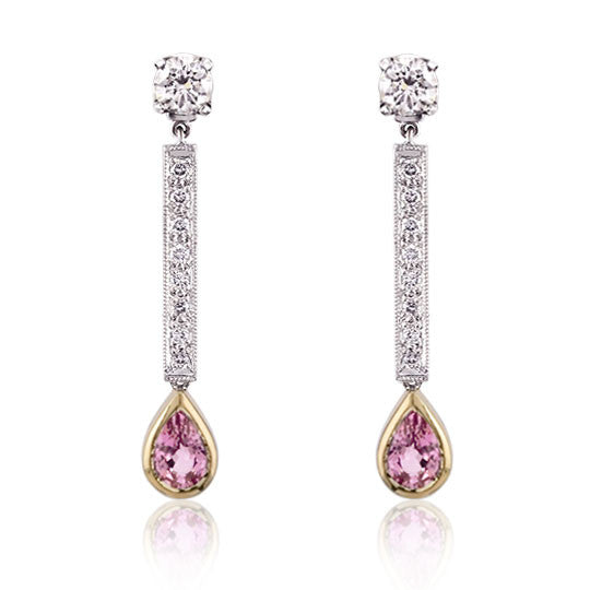 Pink Sapphire & Diamond 18ct Gold Earrings