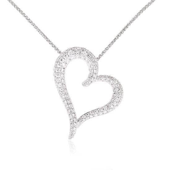 White Gold Diamond Love Heart Pendant