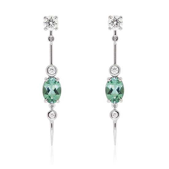 Tourmaline & Diamond White Gold Earrings