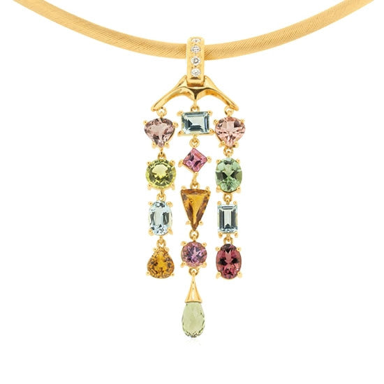 18ct Gold Assorted Gemstone Pendant