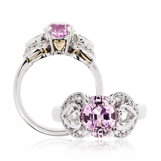 White Gold Pink Sapphire & Diamond Heart Ring