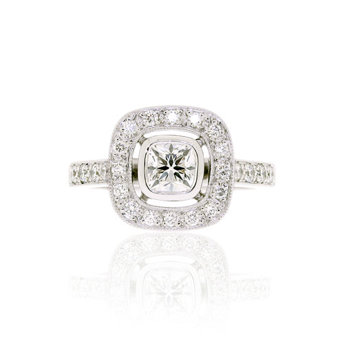 18ct White Gold Cushion Diamond Halo Engagement Ring