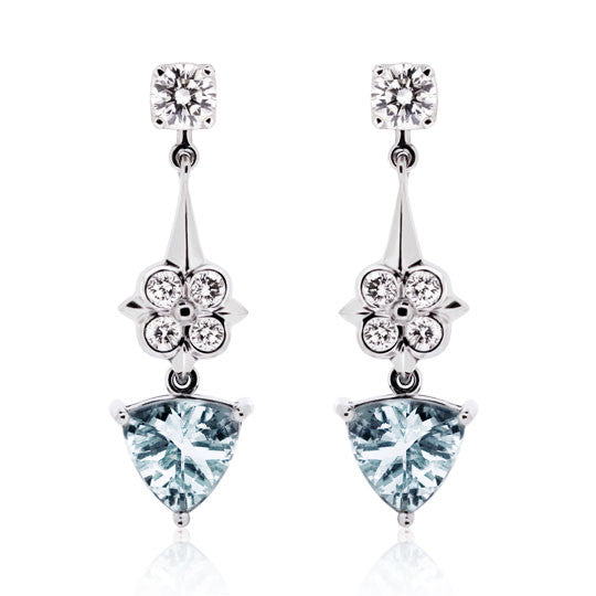 Aquamarine & Diamond White Gold Earrings