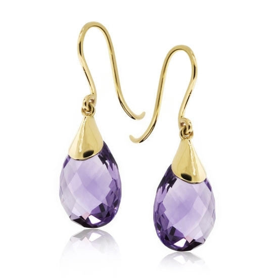 18ct Gold Briolette Amethyst Earrings