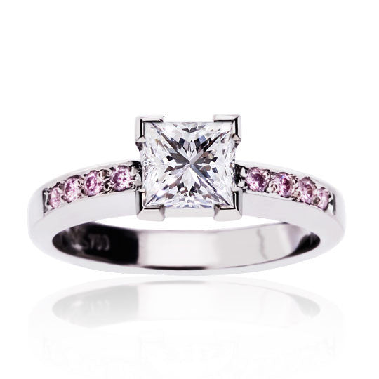 White Gold Princess & Pink Diamond Ring