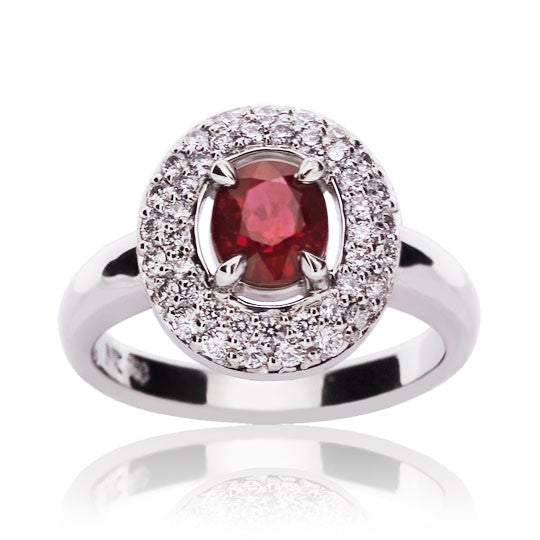 White Gold Ruby & Diamond Cluster Ring