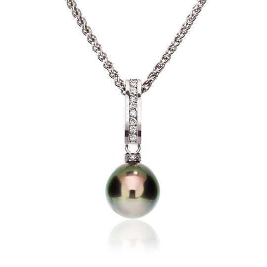 White Gold Tahitian Pearl & Diamond Pendant