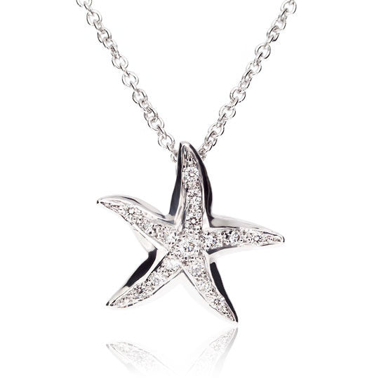 White Gold Diamond Starfish Pendant