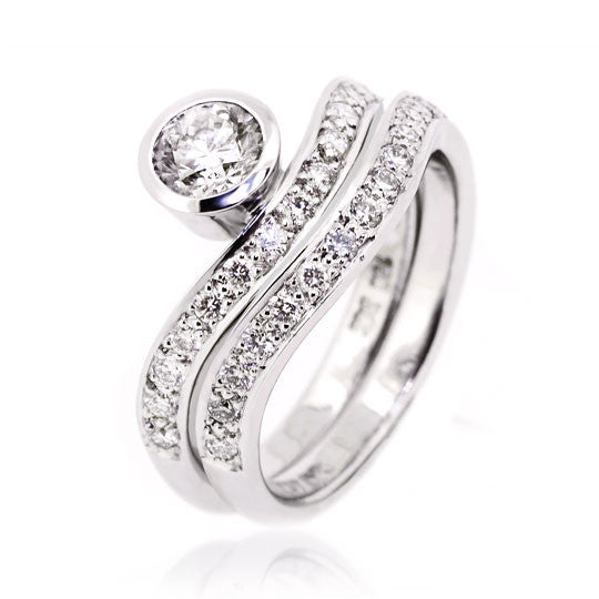 White Gold Brilliant Diamond Ring & Wedder