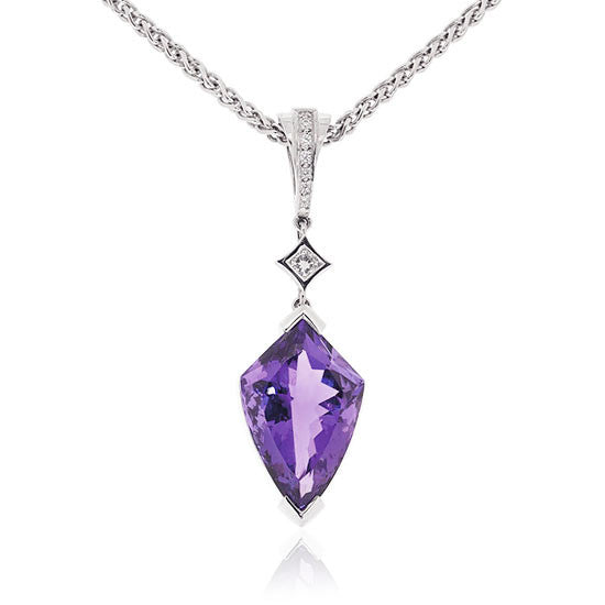 Amethyst & White Gold Diamond Pendant