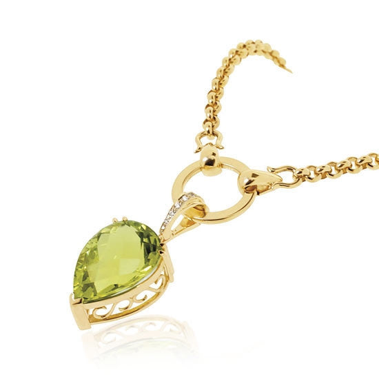 18ct Gold Prasiolite & Diamond Pendant
