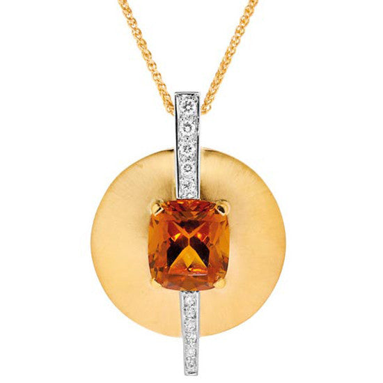 18ct Gold Garnet & Diamond Pendant