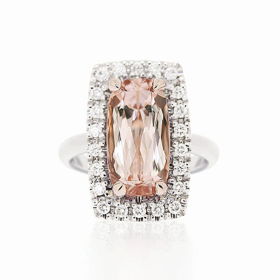 18ct Gold Morganite & Diamond Ring