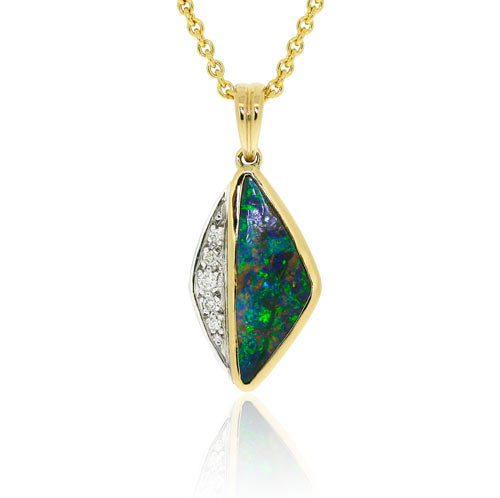 18ct Gold Boulder Opal & Brilliant Diamond Pendant